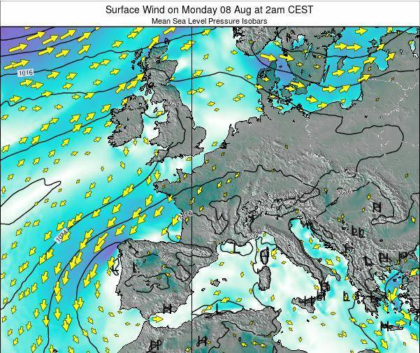 France Surface Wind on Tuesday 02 Jun at 2pm CEST