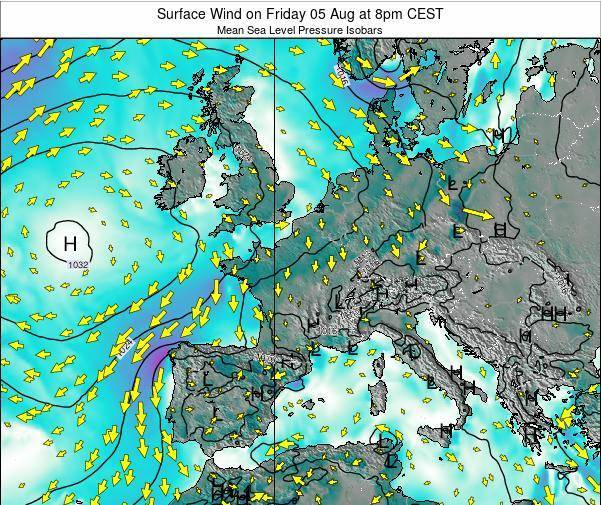 France Surface Wind on Thursday 24 Apr at 2am CEST