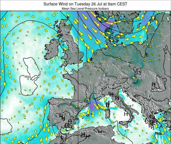 France Surface Wind on Wednesday 12 Mar at 1am CET