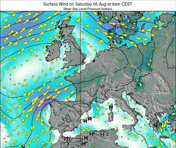 France Surface Wind on Wednesday 22 May at 8am CEST