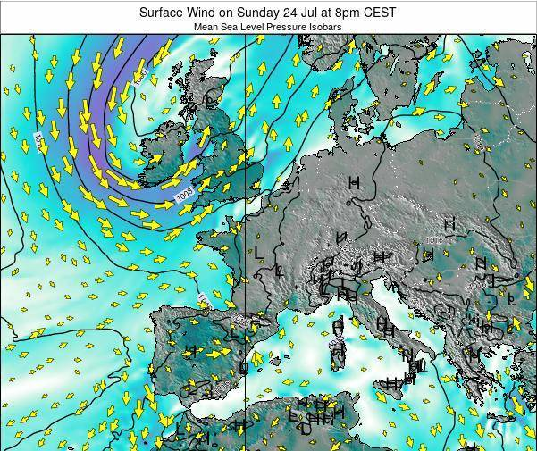France Surface Wind on Saturday 19 Apr at 2pm CEST