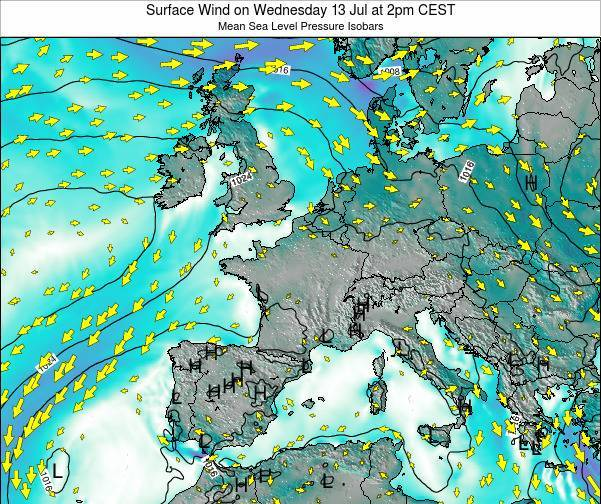 France Surface Wind on Monday 25 Sep at 2am CEST