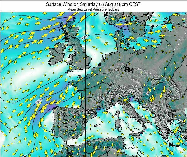 France Surface Wind on Wednesday 20 Aug at 2pm CEST