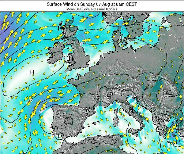 France Surface Wind on Friday 01 Aug at 8pm CEST