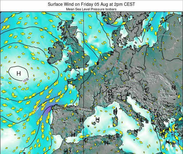 France Surface Wind on Friday 13 Dec at 7pm CET