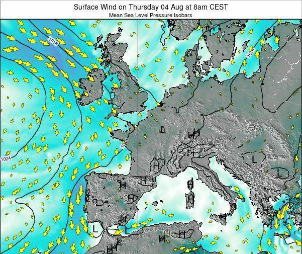 France Surface Wind on Thursday 23 May at 8pm CEST