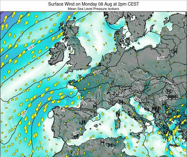 Luxembourg Surface Wind on Wednesday 12 Mar at 7am CET map