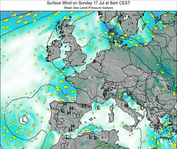 Luxembourg Surface Wind on Sunday 08 Dec at 1pm CET map