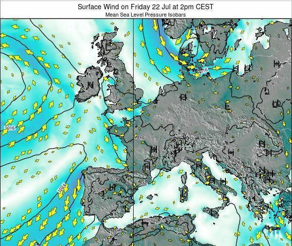Luxembourg Surface Wind on Monday 28 Jul at 8pm CEST map