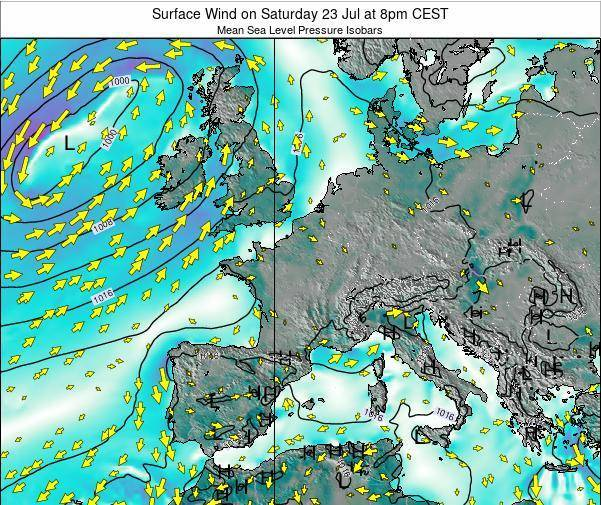 Luxembourg Surface Wind on Thursday 24 Jul at 8pm CEST map