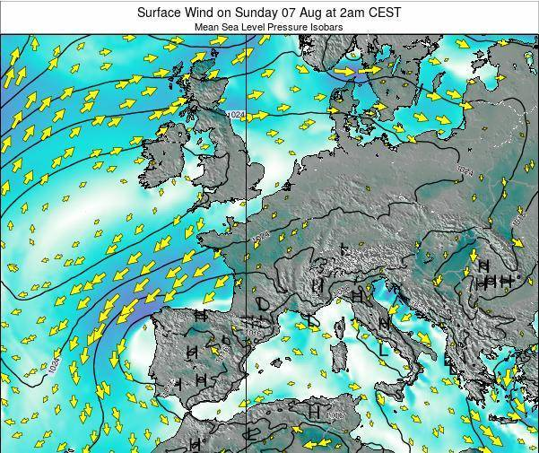 France Surface Wind on Wednesday 12 Mar at 7pm CET