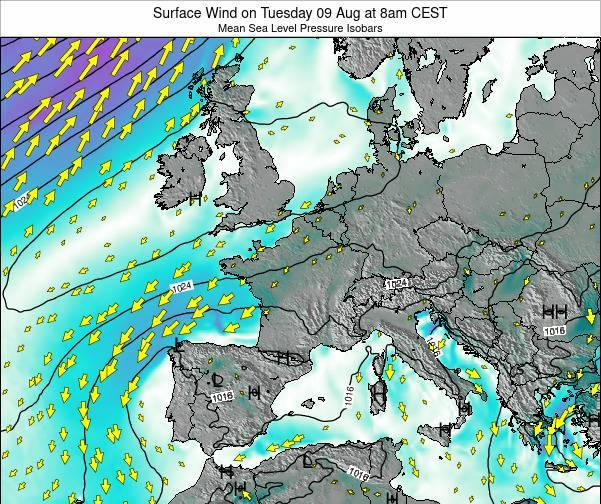 Luxembourg Surface Wind on Wednesday 12 Mar at 1pm CET map