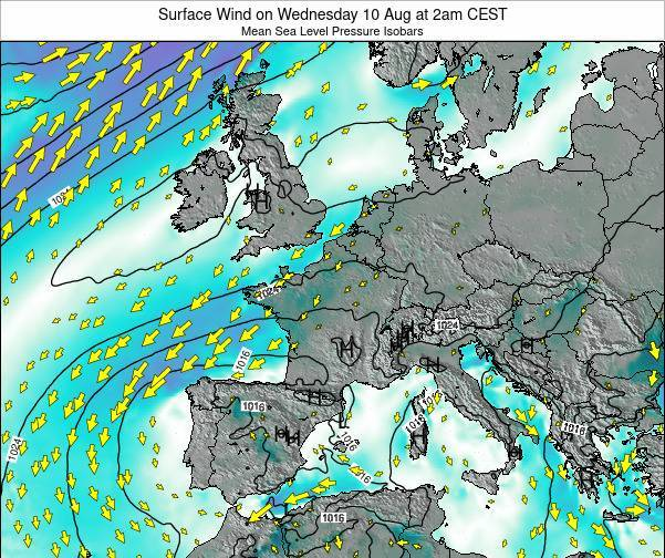 Luxembourg Surface Wind on Friday 18 Apr at 2pm CEST map