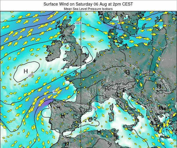 France Surface Wind on Friday 24 May at 8am CEST