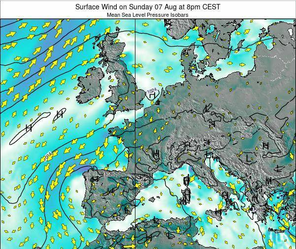 France Surface Wind on Tuesday 22 Apr at 2am CEST