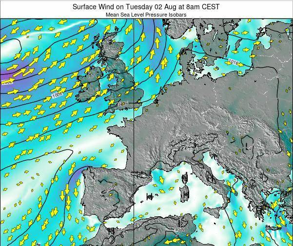 France Surface Wind on Saturday 10 Oct at 2pm CEST
