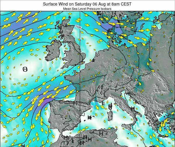 France Surface Wind on Wednesday 29 Apr at 2am CEST