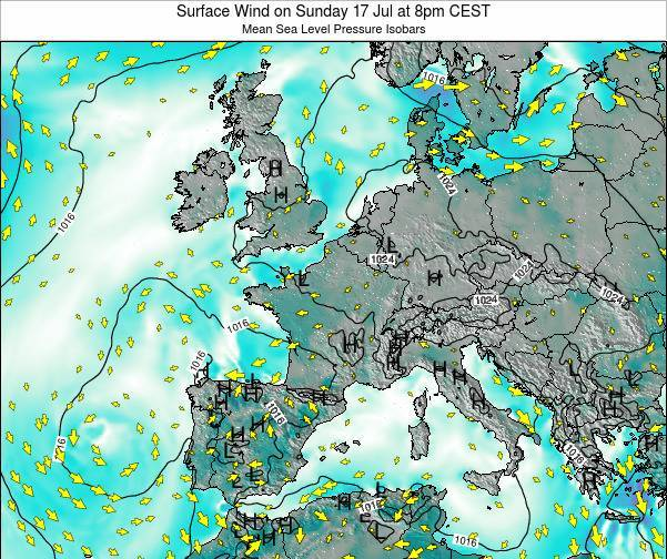 France Surface Wind on Saturday 02 Aug at 2pm CEST
