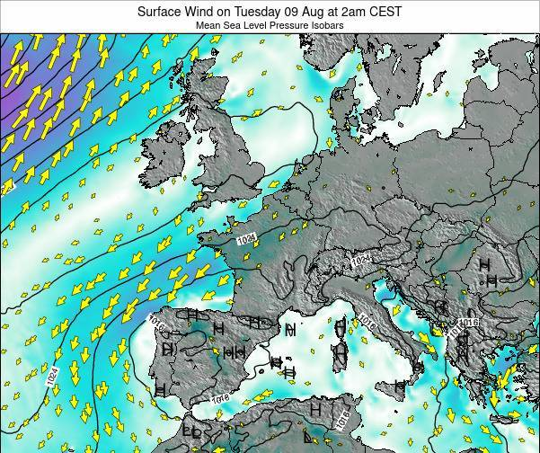 Luxembourg Surface Wind on Tuesday 29 Jul at 8pm CEST map