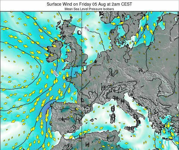 France Surface Wind on Wednesday 11 Dec at 7am CET