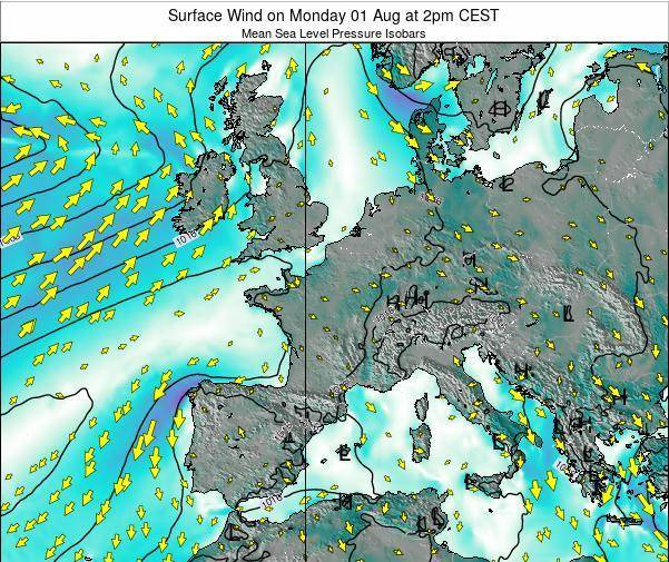 Luxembourg Surface Wind on Saturday 26 Apr at 8am CEST map