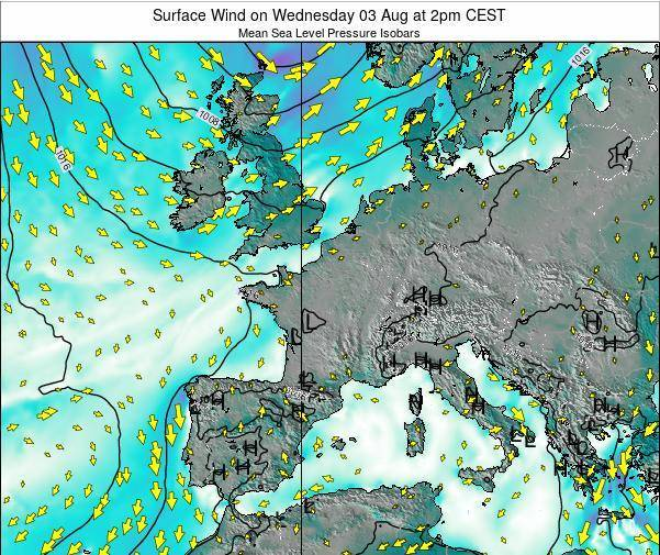 France Surface Wind on Monday 20 May at 8pm CEST