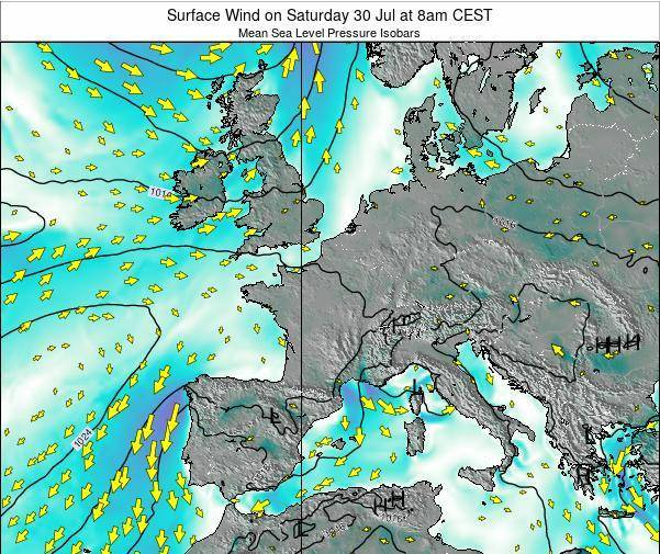 France Surface Wind on Friday 25 Apr at 8pm CEST