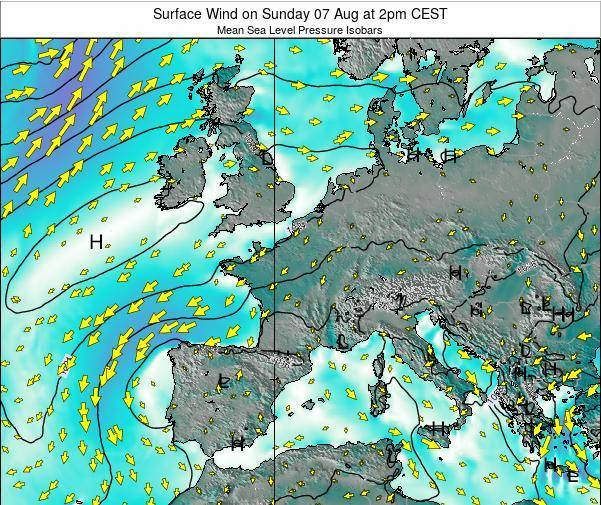 France Surface Wind on Friday 18 Apr at 2am CEST