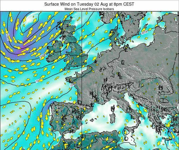 France Surface Wind on Sunday 26 Feb at 1pm CET