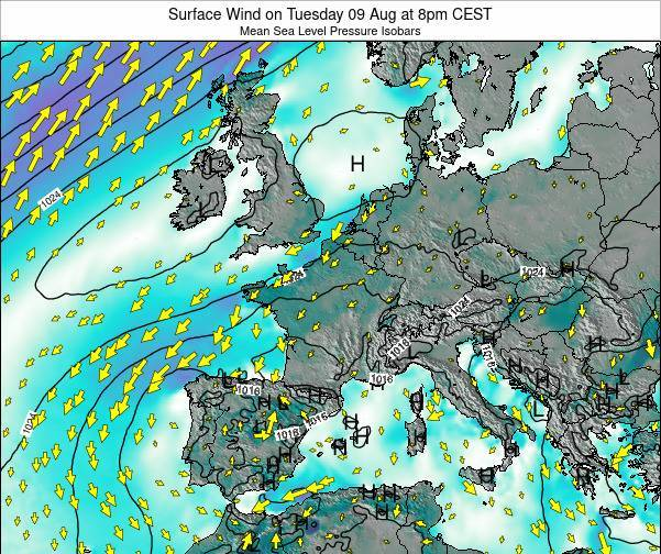 France Surface Wind on Saturday 14 Dec at 7pm CET