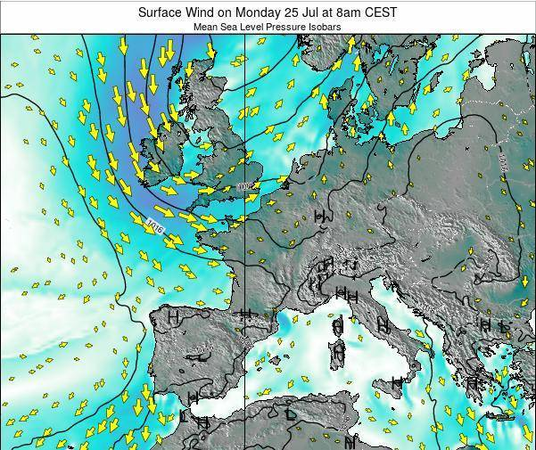 France Surface Wind on Monday 25 Sep at 8pm CEST