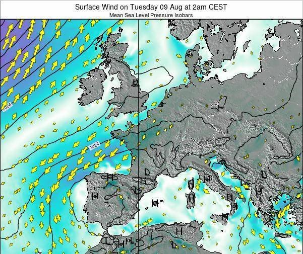 France Surface Wind on Sunday 26 Nov at 7pm CET map
