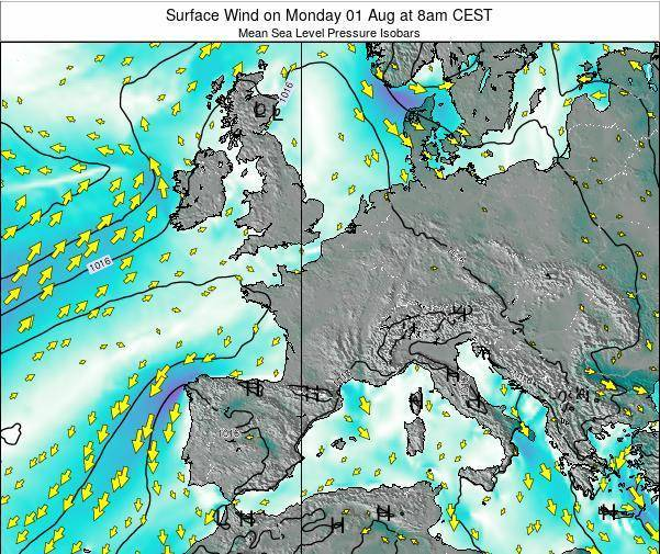 France Surface Wind on Tuesday 28 Jun at 2pm CEST