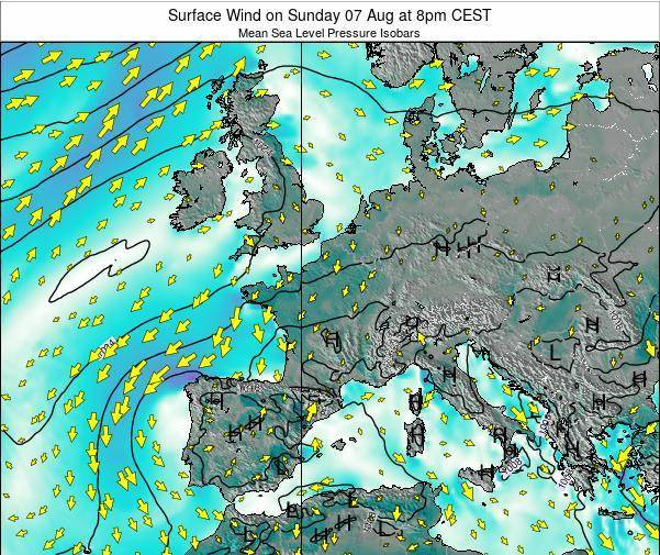 France Surface Wind on Monday 02 Feb at 1pm CET