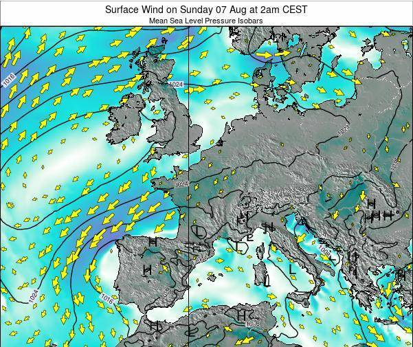 France Surface Wind on Saturday 23 Jun at 2am CEST map