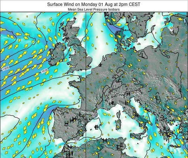 France Surface Wind on Thursday 11 Feb at 1am CET