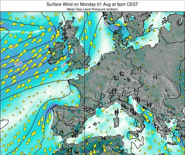 France Surface Wind on Tuesday 11 Mar at 1am CET