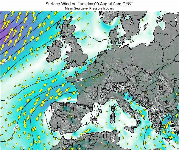 France Surface Wind on Monday 20 May at 2am CEST