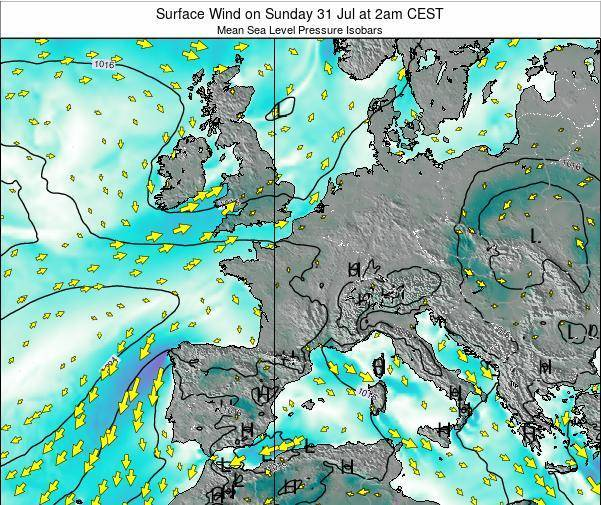France Surface Wind on Monday 26 Sep at 8am CEST