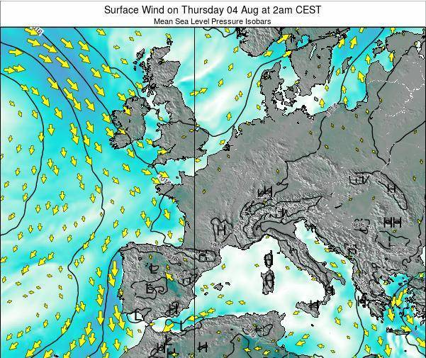 France Surface Wind on Sunday 26 Apr at 8pm CEST