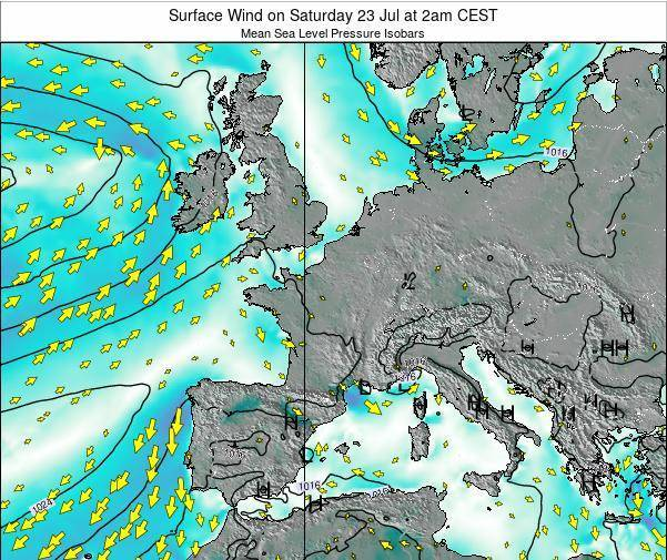 France Surface Wind on Tuesday 22 Jul at 8pm CEST