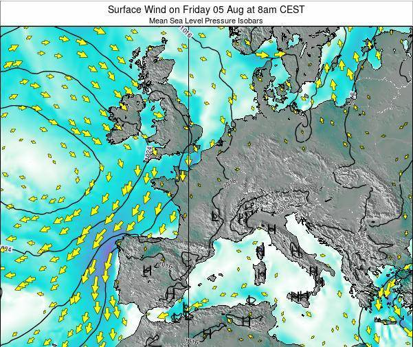France Surface Wind on Wednesday 23 Apr at 2am CEST