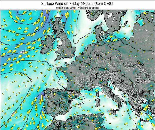 France Surface Wind on Tuesday 29 Jul at 2pm CEST