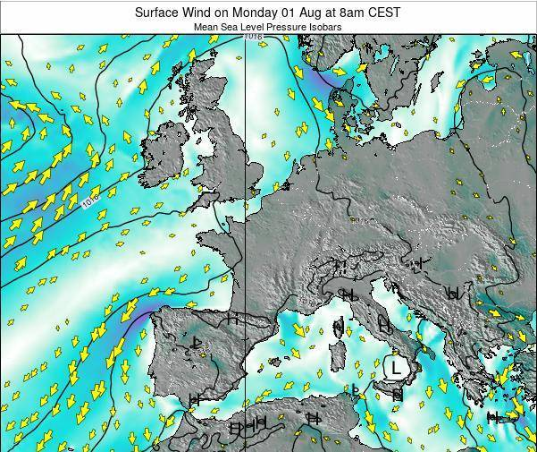 Luxembourg Surface Wind on Friday 21 Jun at 2pm CEST map