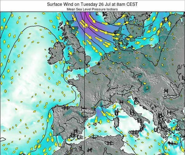 Luxembourg Surface Wind on Friday 24 May at 2am CEST map