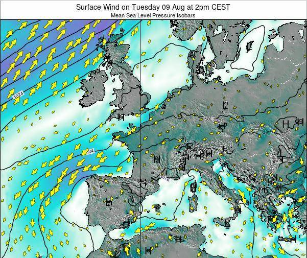 Luxembourg Surface Wind on Saturday 14 Dec at 1am CET map