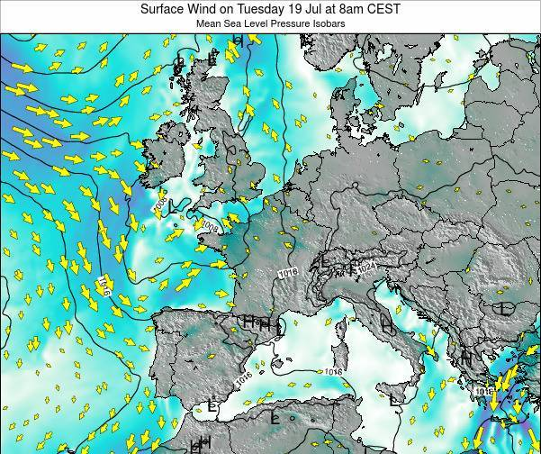 Luxembourg Surface Wind on Saturday 19 Apr at 8am CEST map