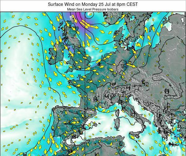 Luxembourg Surface Wind on Saturday 26 Jul at 2am CEST map