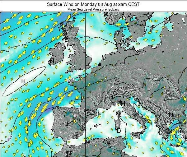 France Surface Wind on Thursday 12 Dec at 7am CET