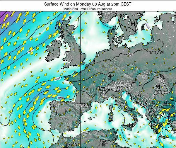 France Surface Wind on Friday 14 Mar at 1pm CET